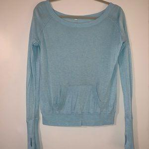 Lululemon boatneck light blue sweater size 4
